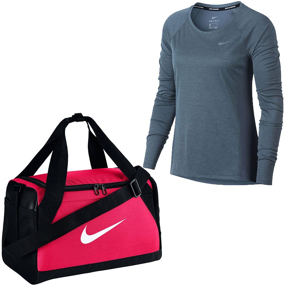 24a302c4d oferta nike camiseta manga longa feminino+ bolsa academia nf. Carregando  zoom.