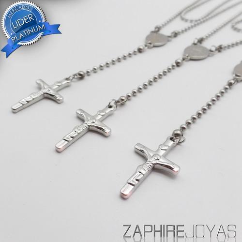oferta! pack x3 simil rosarios acero quirurgico por mayor