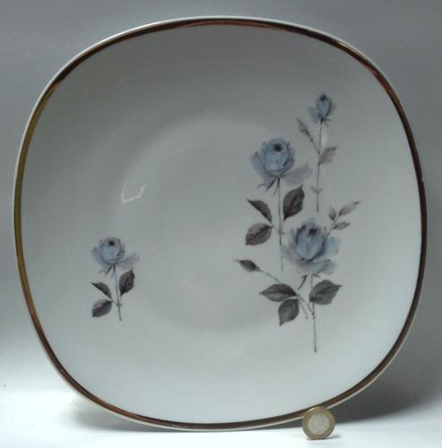 oferta platón porcelana bavaria blanca decorado rosas azules