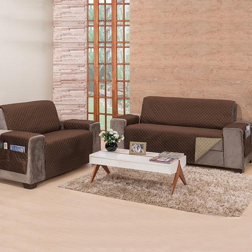 oferta protetor de sofá cris 2 e 3 lugares king dupla-face