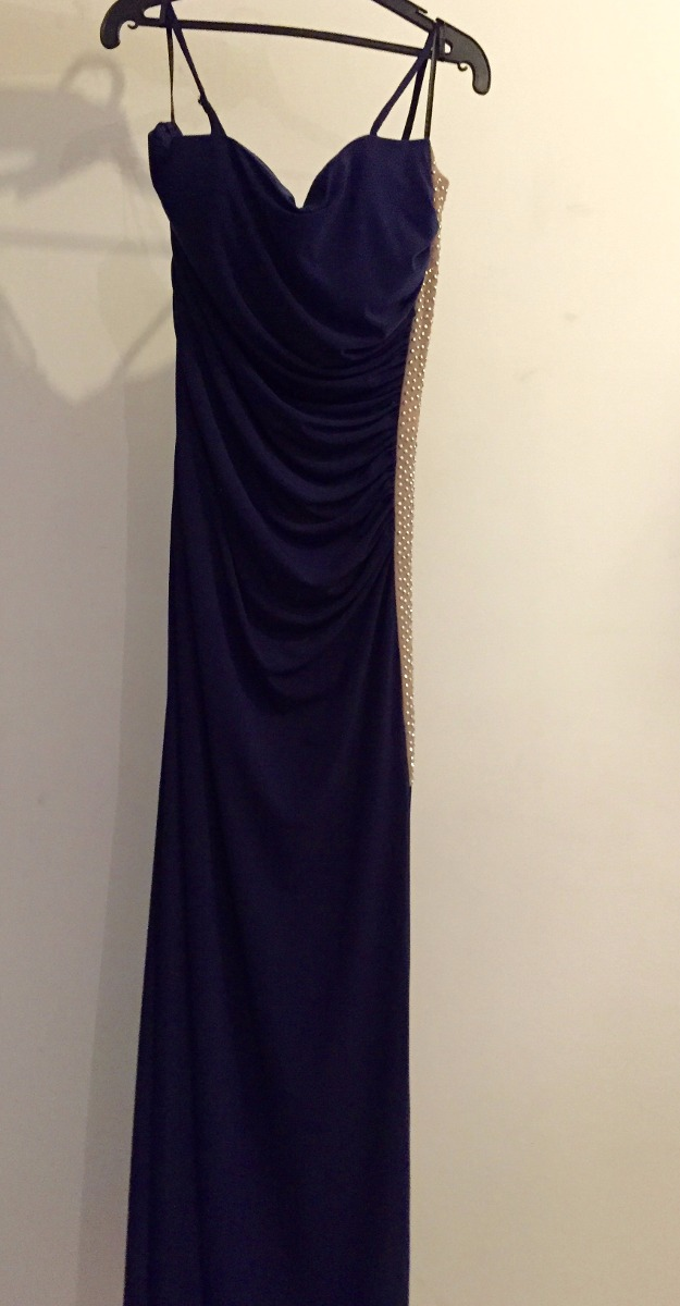 Vestido azul marino largo liz minelli