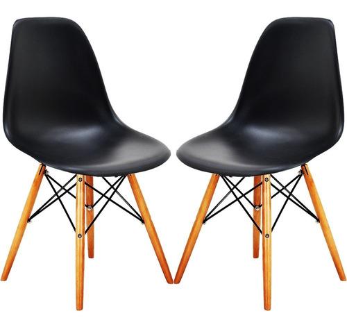 oferta. set juego de 2 sillas. eames dsw blanca / negra