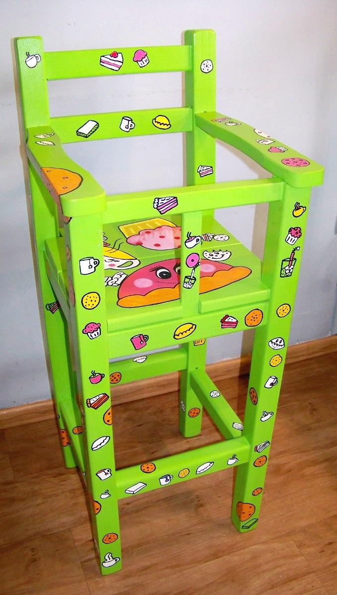 Oferta silla para comer de beb de madera pintada artesanal en mercado libre - Pintar sillas de madera ...