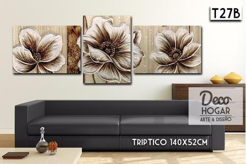 oferta! triptico flores 140x52cm cuadros decorativos moderno