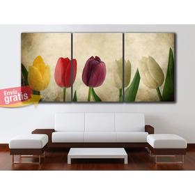 Oferta Triptico Flores Cuadros Decorativos 90x42cms Catalogo