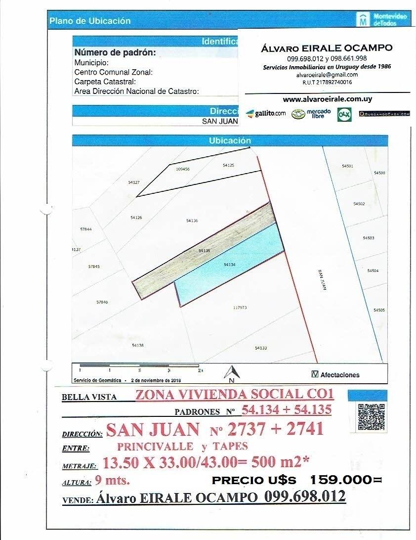 oferta u$s 159.000= terreno 500 m2* san juan 2737