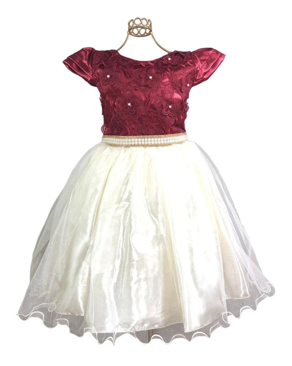 318888fcef oferta vestido infantil daminha marsala princesa renda luxo. Carregando  zoom.