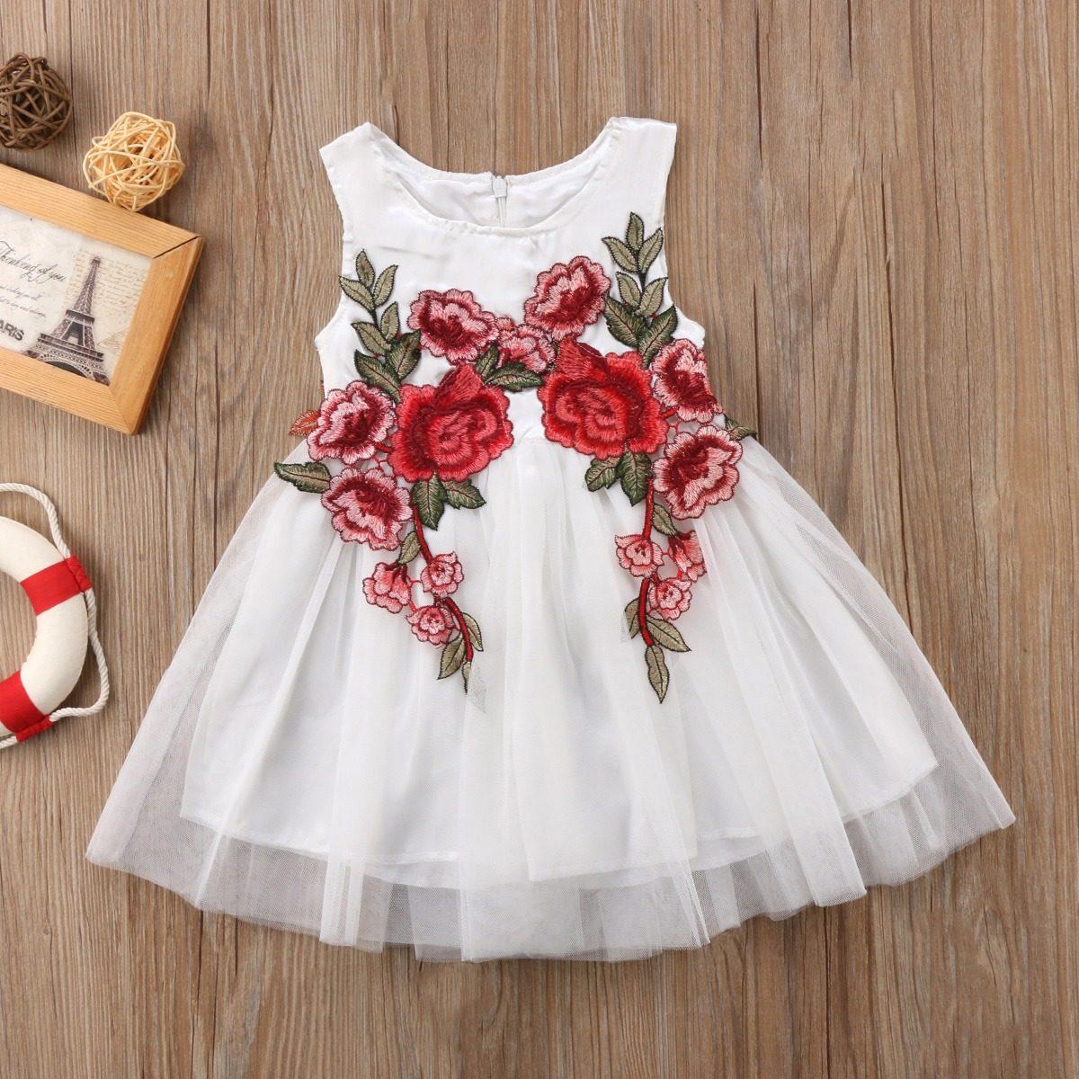 936a6f88f oferta vestido para niña de fiesta tono perla bordado rosas. Cargando zoom.
