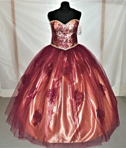 oferta  vestido tinto de  xv años envio gratis