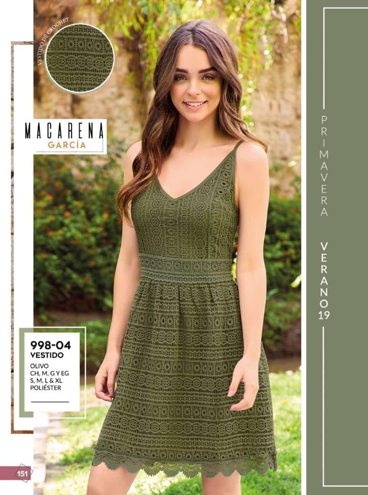 Oferta Vestido Verde Olivo Dama Cklass 998 04 Crochet Pv19