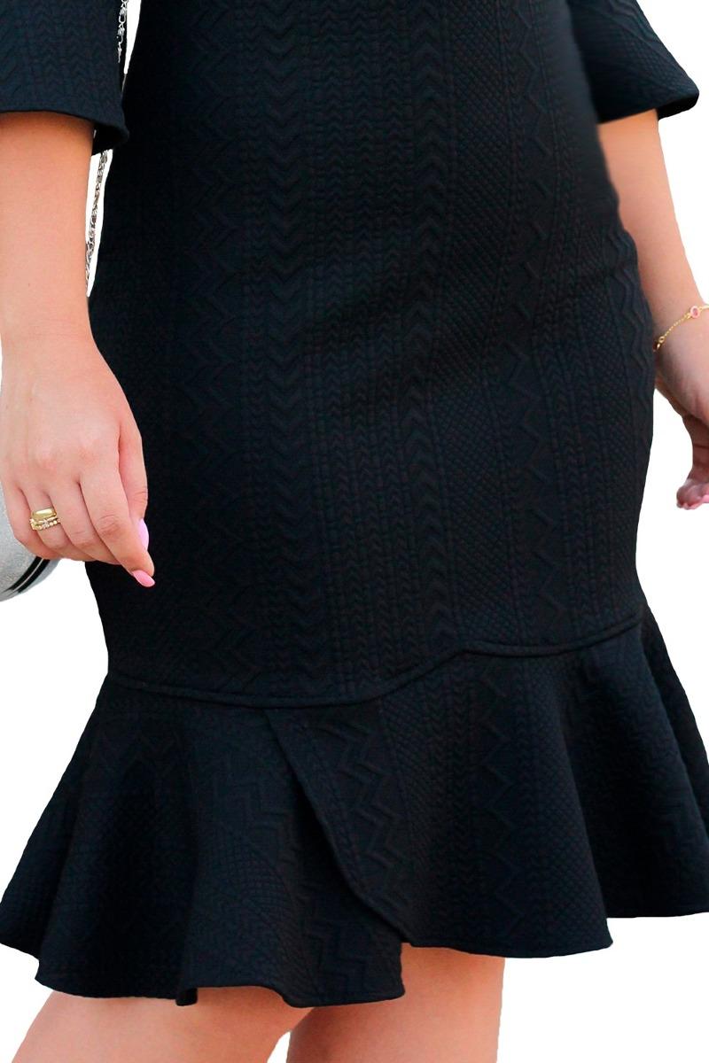 44cf39f15 oferta vestido vestido monia tubinho malha jacquard preto. Carregando zoom.