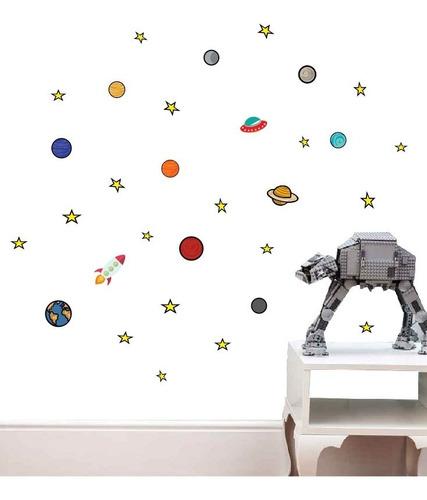 oferta vinilo decorativo planetas espacio  pared 2m