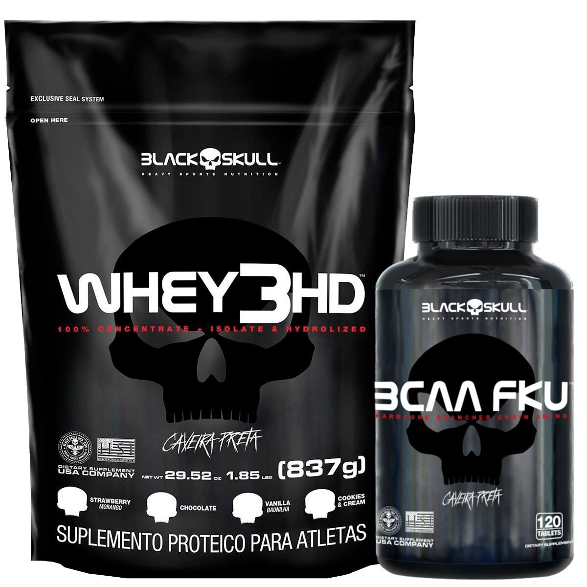 9168bb72a oferta whey 3hd 837gr refil + bcaa fku 120tbl black skull. Carregando zoom.