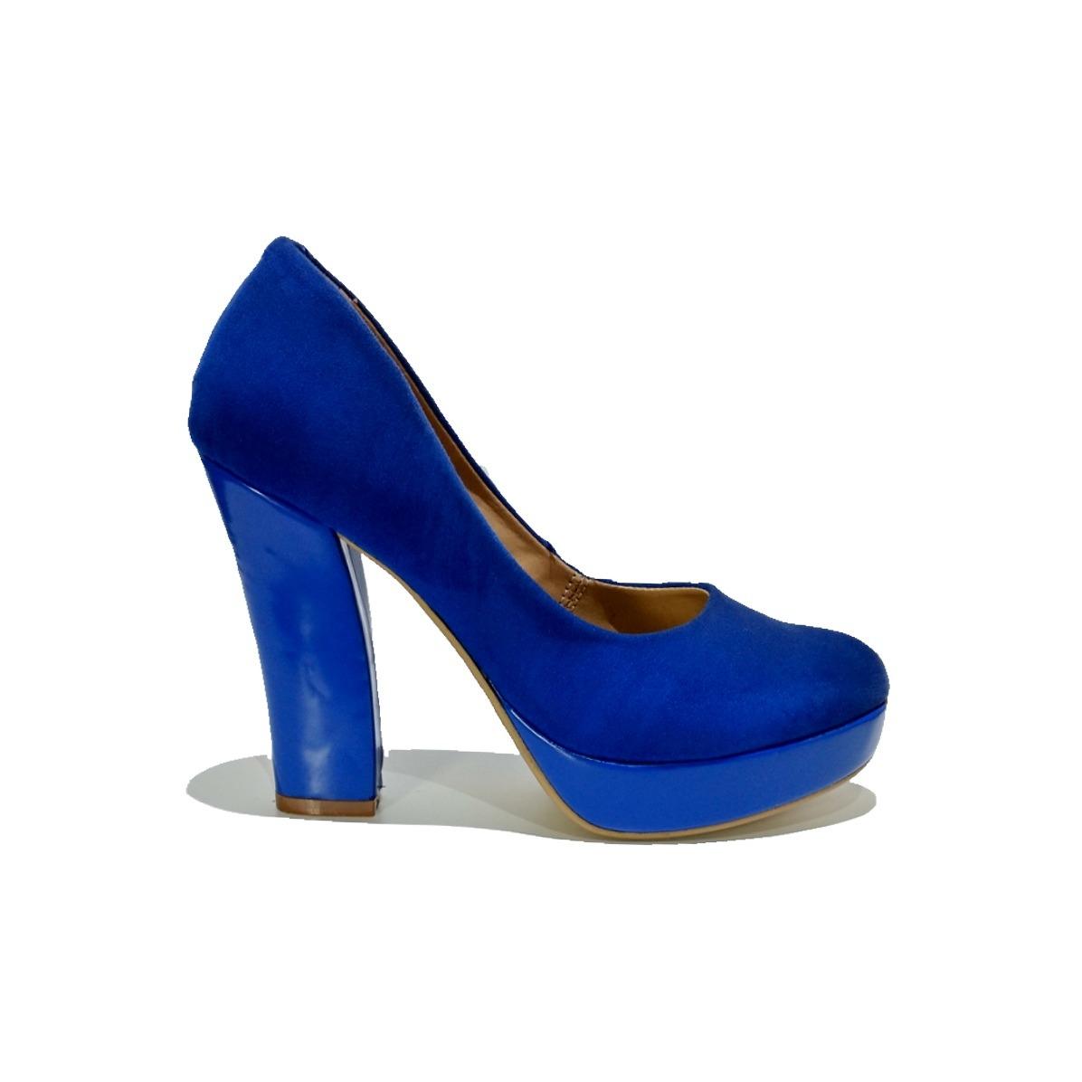 2884d1d1ed Oferta Zapatillas Azul Rey Tacón Ancho Y Plataforma - $ 199.90 en ...