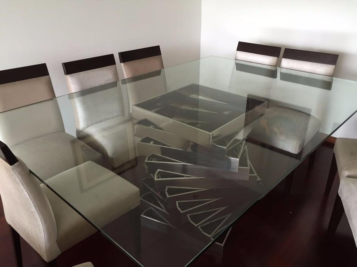 Ofertas comedor 10 sillas mesa de vidrio base de acero for Oferta mesa y sillas comedor