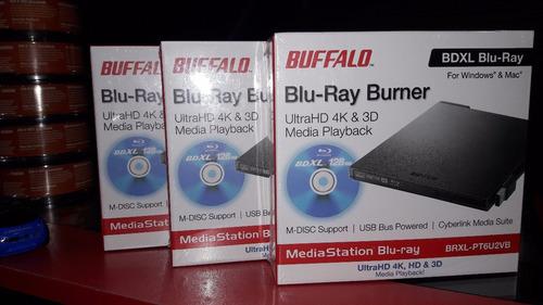 oferto blu-ray burner externo ultra 4k&3d marca buffalo nuev