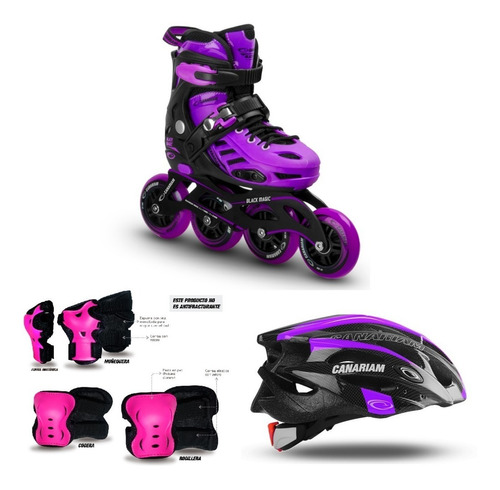 oferton patin canariam black magic con casco kit tula