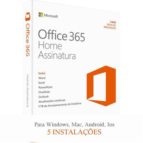 office 365 home - 5 instalações- 1 ano- original
