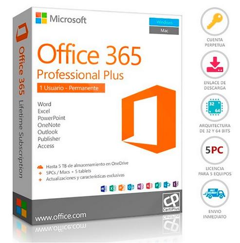office 365 licencia permanente para 5 pc's mac's o tablets