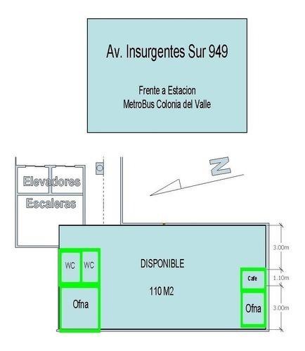 oficina 100m2 sobre av. insurgentes   - col.  amp napoles