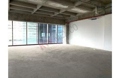 oficina en renta  en downtown santa fe 554.42m2 en obra gris lista para acondicionar enfrente del parque la mexicana
