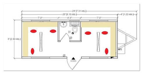 oficina movil caseta remolque camper  8x24 pies para 6 c/ wc