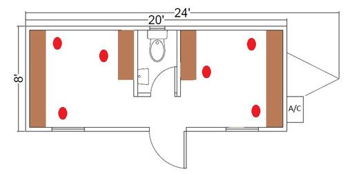 oficina movil de 8x24 pies camper remolque caseta  c/ wc
