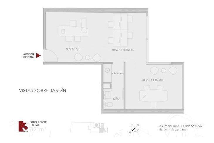 oficina premium de 52mts vista abierta y luminosa piso alto
