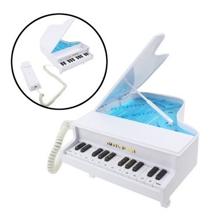 oficina telefono forma elegante piano clasico cable blanco