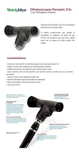 oftalmoscopio panoptic welch allyn 3.5v luz halogena xenon