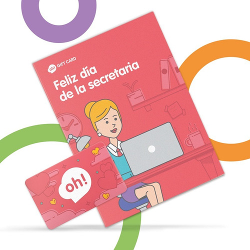 oh! gift card $1000. holder día de la secretaria sobre rojo