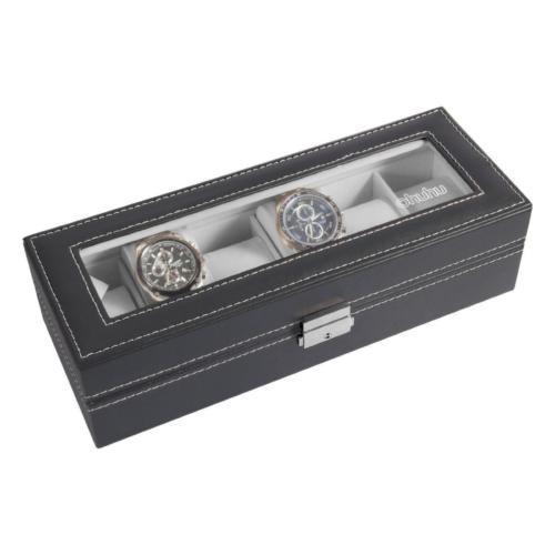 ohuhu 6 ranura cuero reloj pantalla organizador de casos