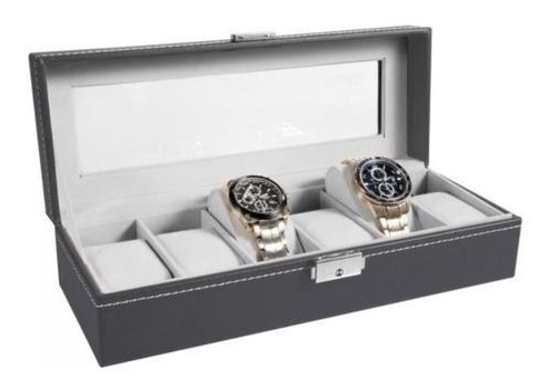 ohuhu 6 ranuras reloj cuero caja joyas organizador gris y