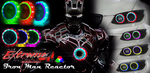 ojo angel led rgb ironman reactor doble!! todos los colores