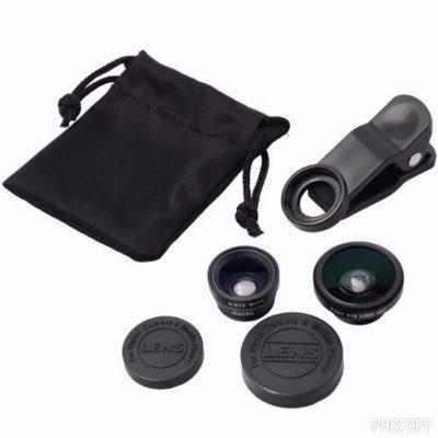 ojo de pez clip lente 3 en 1 universal+macro