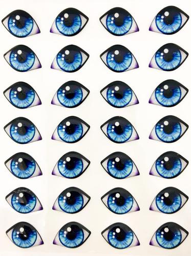 ojos 3d duendes resinados reales porcelana autoadhesivos x10