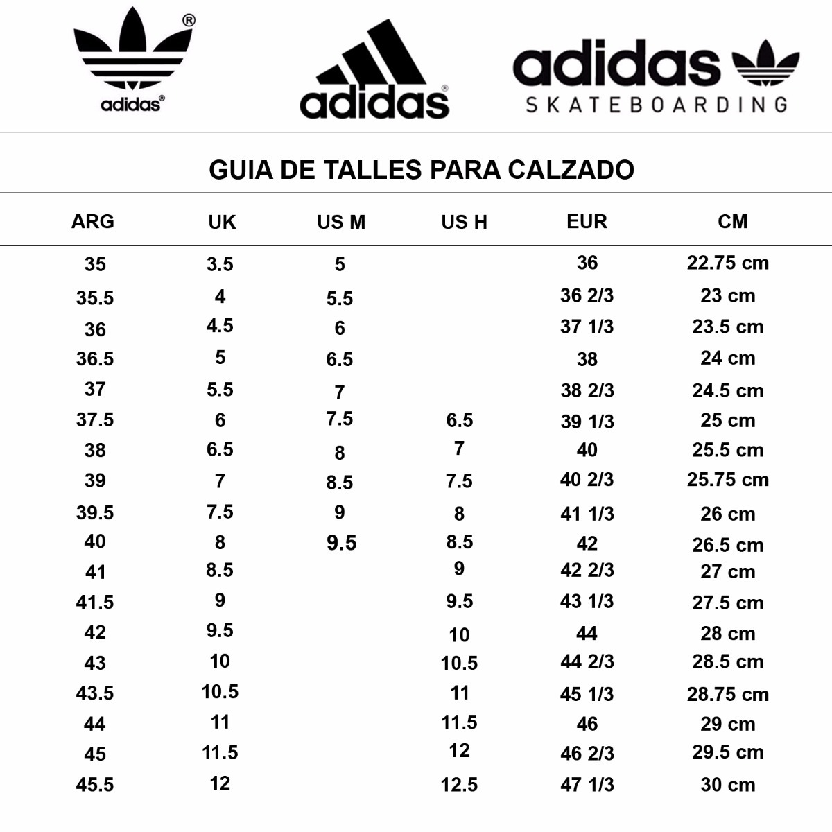 Equivalencia Equivalencia Zapatillas Talla Adidas Adidas