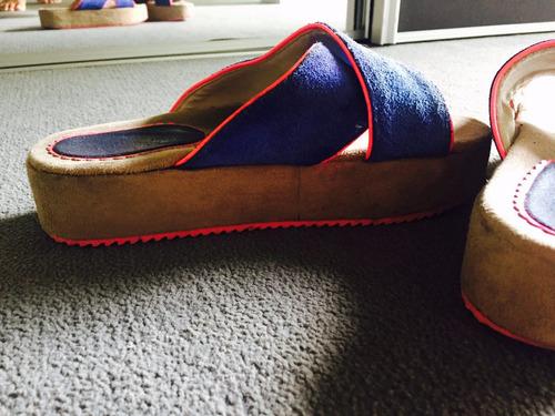 ojotas sandalias / azul eléctrico + fuscia
