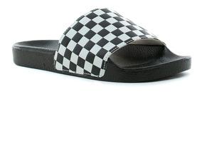 Fluid Ojotas Tienda Slide Vans Checkerboard On Black Oficial mvN8n0wO