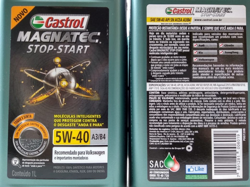 oleo 5w40 502 00 castrol gol voyage g5 g6 ate 2014 motor 1.0