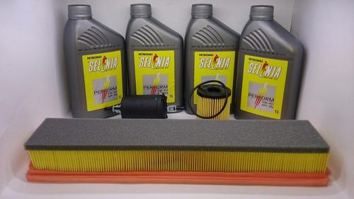 óleo 5w40 peugeot 1.6 207 - 307 100% sintético + kit filtros