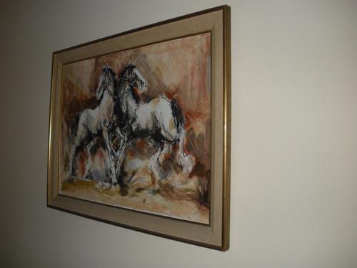 óleo caballos bartolomé vaccarezza, pintura, cuadro-hermoso!