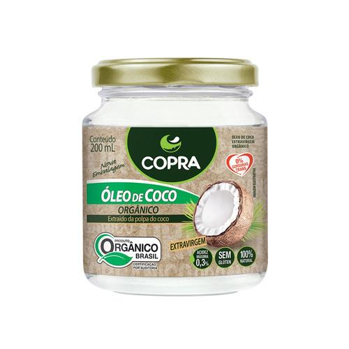 óleo de côco orgânico extra virgem copra 100% natural 200ml
