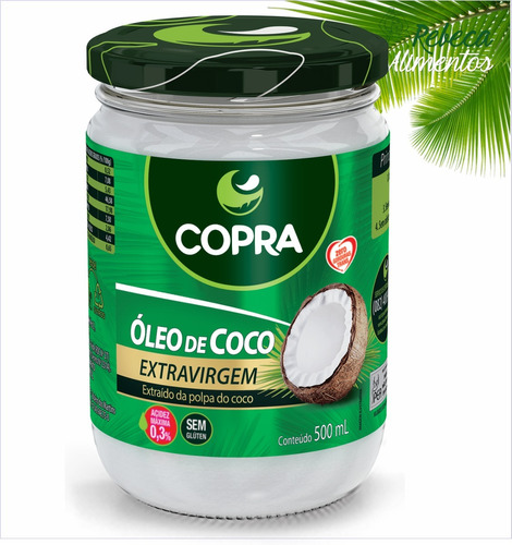 óleo de coco extra virgem 500ml copra original + brinde!!