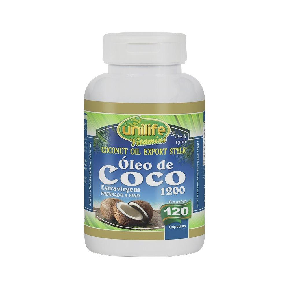 Óleo De Coco Extravirgem 120 Cápsulas 1200mg Unilife