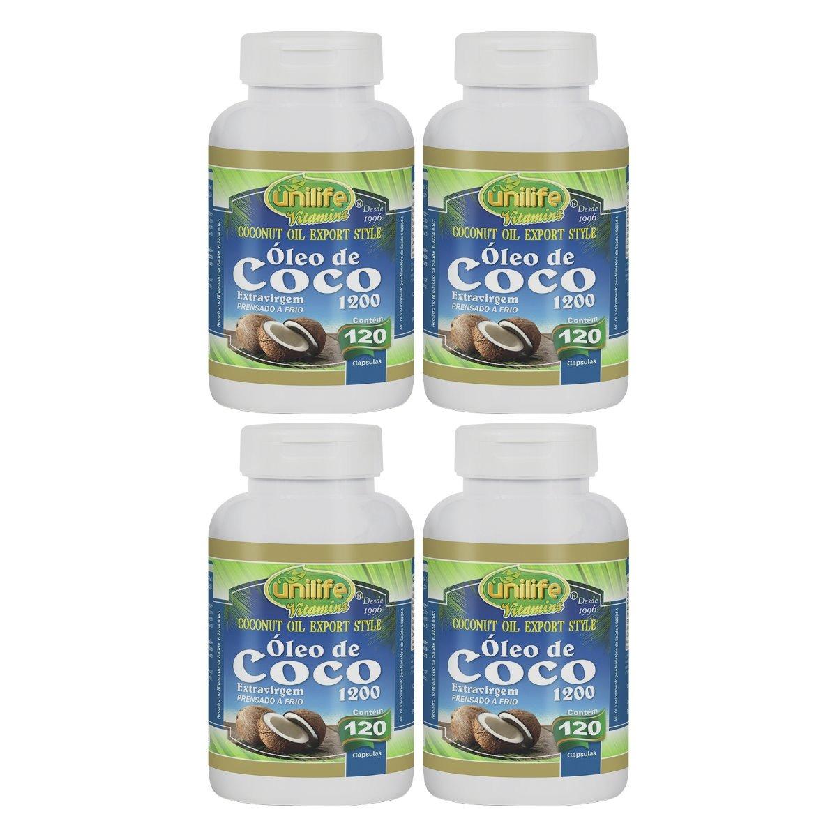 Óleo De Coco Extravirgem 120 Cápsulas 1200mg Unilife Kit 4 Unidades