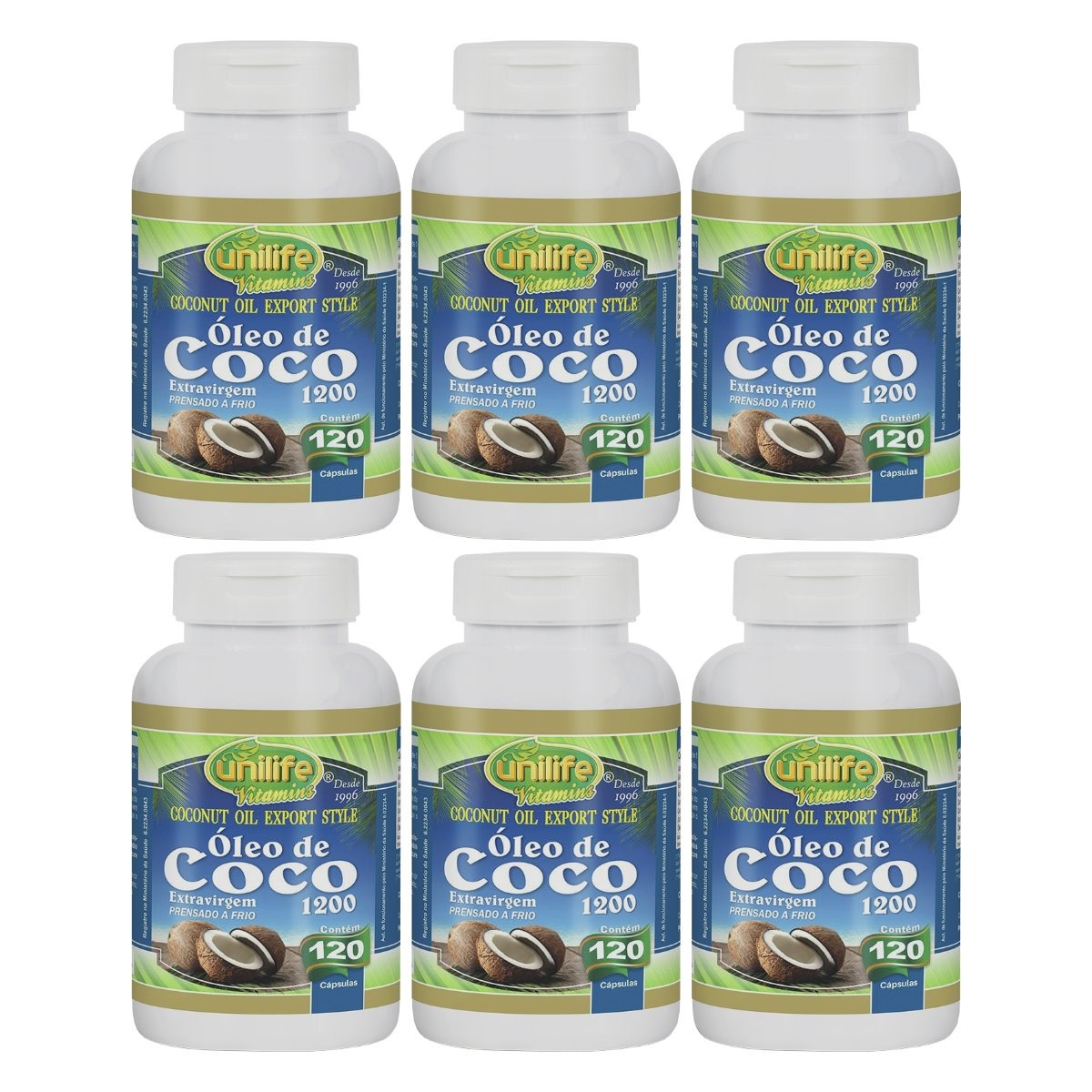 Óleo De Coco Extravirgem 120 Cápsulas 1200mg Unilife Kit 6 Unidades