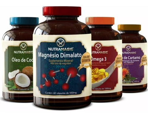 óleo de coco+magnésio dimalato+ômega 3+óleo de cártamo