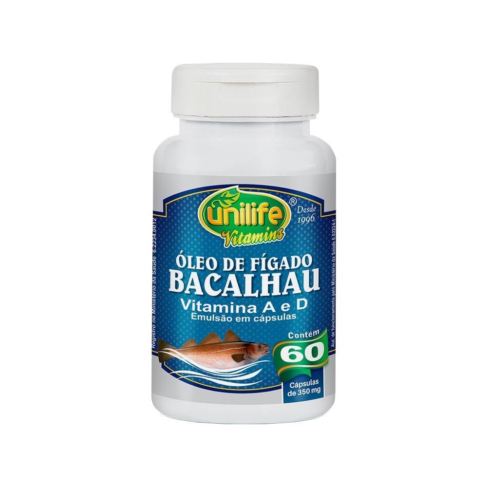 Óleo De Fígado De Bacalhau Com Vitaminas A e D 60 Cápsulas 350mg Unilife
