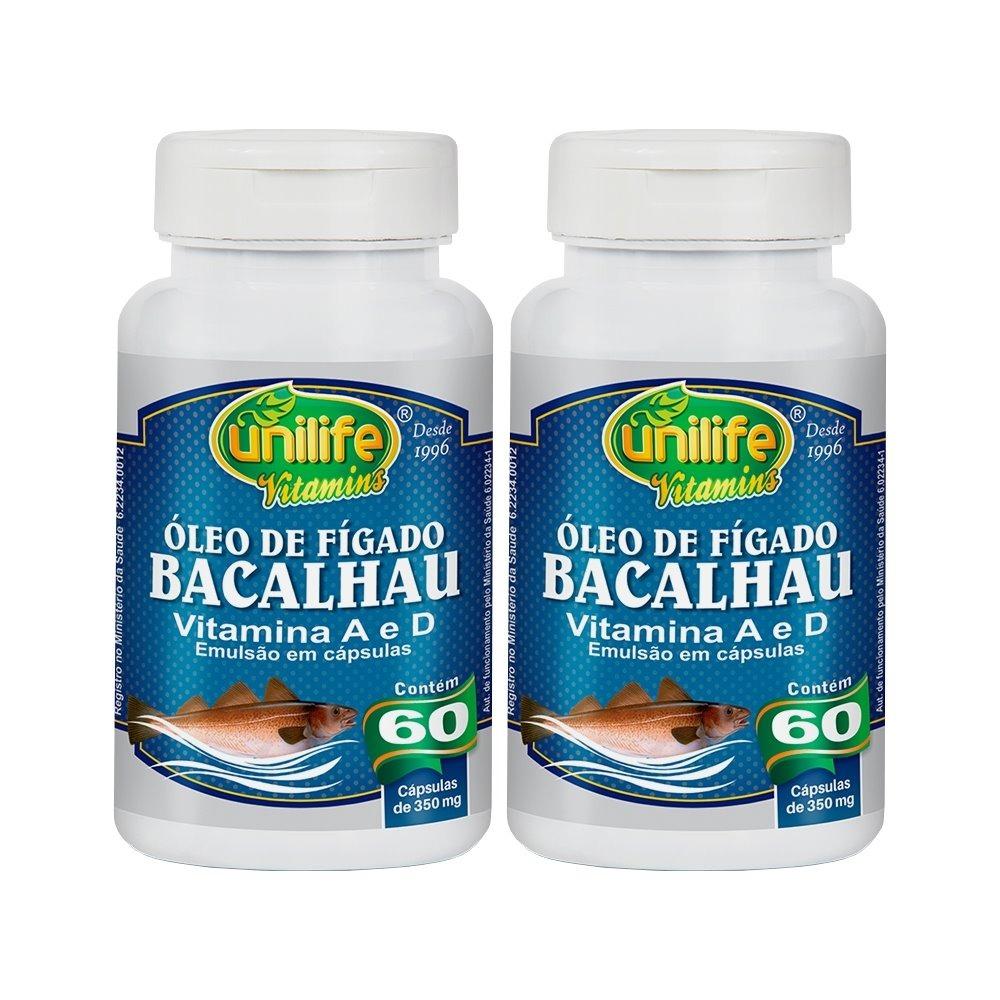 Óleo De Fígado De Bacalhau Com Vitaminas A e D 60 Cápsulas 350mg Unilife Kit 2 Unidades